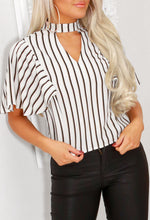 Cream Striped Short Sleeve Top