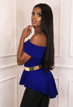 Cobalt Blue Bardot Peplum Top - Side View