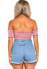 Red Gingham Bardot Top