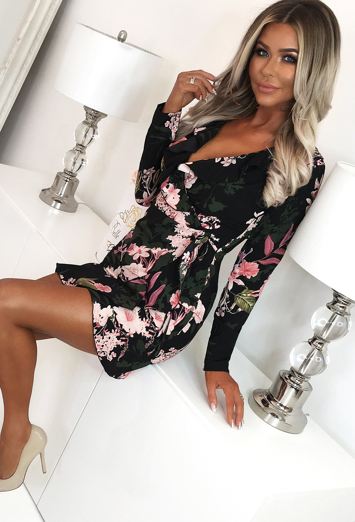 bc47303570630 Too Glam Black Multi Floral Print Frill Wrap Mini Dress – Pink ...