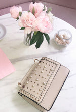 Tres Chic Nude Pearl Studded Shoulder Bag