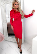 Red Rose Detail Occasion Dress