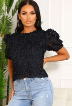 Tess Black Petal Detail Top