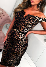 The Chase Multi Leopard Print Bardot Midi Dress