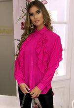 Fuchsia Pink Frill Detail Sheer Blouse - With background