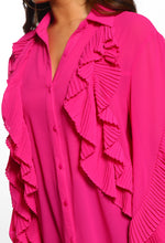 Fuchsia Pink Frill Detail Sheer Blouse - Close up view