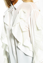 White Frill Detail Sheer Blouse - Close up view