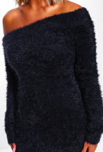 Off The Shoulder Black Knitted Jumper - Detail View