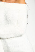 Fluffy Knitted White Jumper - Detail View