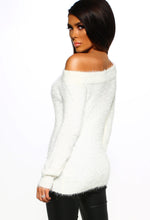 Off Shoulder White Knit Jumper - Back View