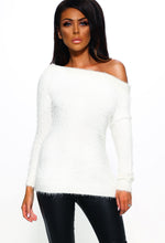 White Bardot Knitted Fluffy Jumper - Front View