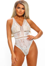 Too Bad I'm Bad White Mesh Lace Open Back Bodysuit