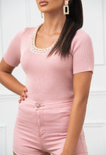 Ribbed Pink Top with Chain Neckline
