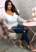 White Crochet Ruffle Detail Blouse - With background