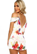 Utterly Cute White Floral Cold Shoulder Plunge Playsuit