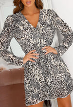 Wrap Front Animal Print Dress