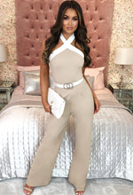 Stone Halterneck Wide Leg Jumpsuit - Front with Background
