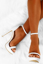 White Barely There Stilettos - Above View
