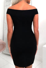 Black Diamante Bardot Dress