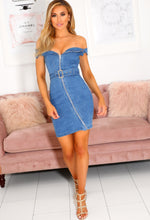 Blue Bardot Denim Dress