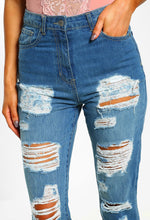 Vibing Mid Blue Distressed High Waisted Boyfriend Jeans