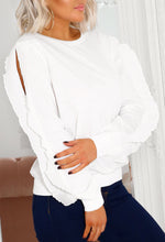 Frill Sleeve Sweatshirt in White