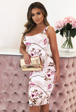 Pink Baroque Print Bodycon Midi Dress
