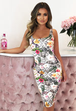 Cream Printed Bodycon Dress