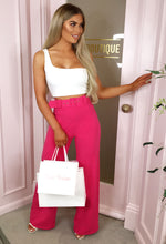 Pink Wide Leg Trousers Outfit - Selfie Image