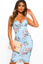 Floral Pleated Bust Midi Dress