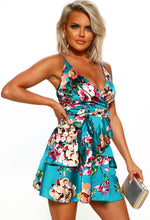 Green Floral Wrap Mini Dress