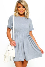 Grey Smock Mini Dress - Front View