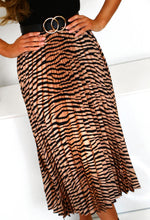 Zebra Print Pleated Midi Dress