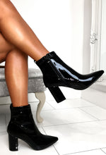 Black High Shine Ankle Boots
