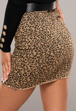 Denim Leopard Print Skirt