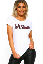 White Sequin Slogan T-Shirt