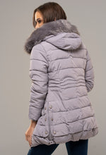 Winter Walk Grey Padded Faux Fur Collar Jacket