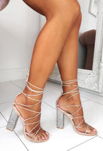 Nude Diamante Block Heels