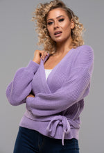 Purple Knitted Wrap Cardigan