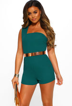 Teal One Shoulder Playsuit - Front View