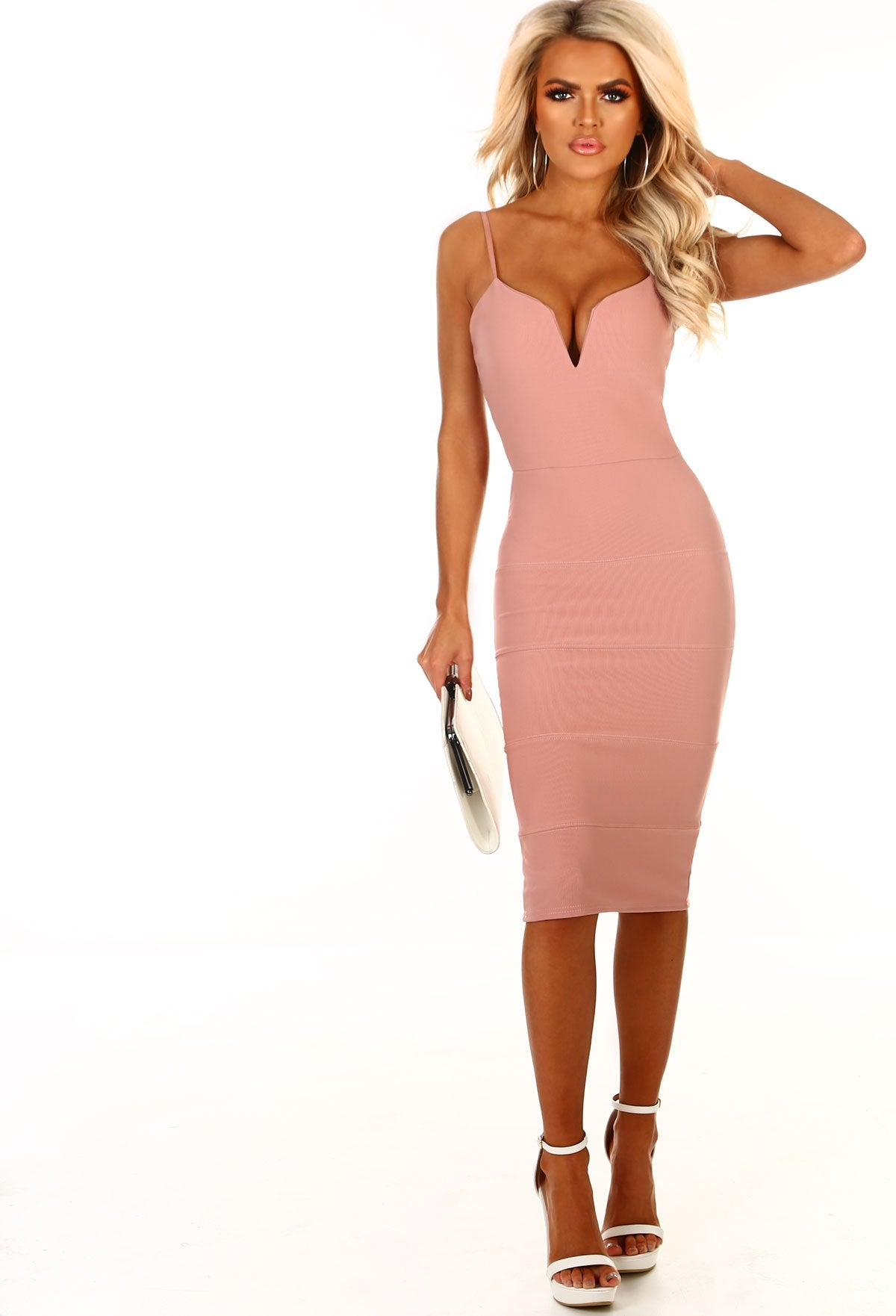 c548bfe10d A Little Crush Rose Pink Bodycon Midi Dress – Pink Boutique UK