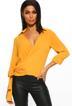A Little Luxury Mustard Wrap Tie Front Blouse
