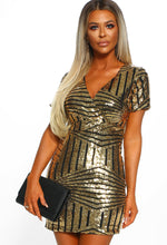 A Little Tipsy Gold Sequin Wrap Front Mini Dress