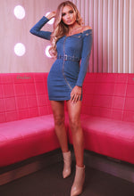 Mid Blue Denim Bardot Mini Dress - Front with Background