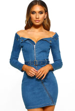 A Million Dreams Mid Blue Denim Bardot Zip Front Mini Dress