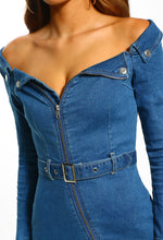 Mid Blue Denim Bardot Mini Dress - Detail