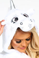 Star Shining White Star Print Unicorn Hooded Dressing Gown