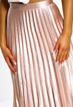 Walking Goddess Pink Metallic Pleated Midi Skirt