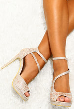 Absent Heart Rose Gold Embellished Heels