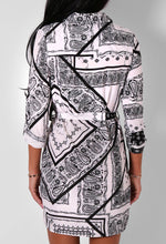 Adaira Monochrome Paisley Shirt Mini Dress